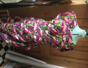 Flamingo dress with a strong directional print
