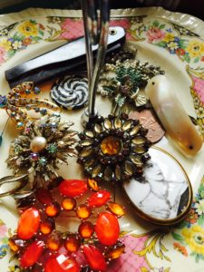 Lovely vintage brooches ready for their feathers!